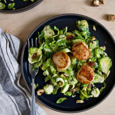 Seared Scallops with Brussel Sprout Salad