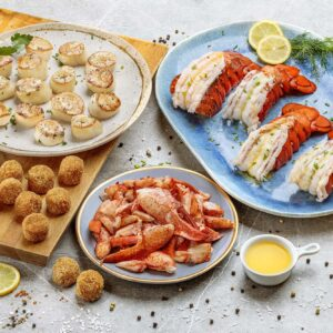 Wild Caught Maine Lobster Tails Cooked Meat And Mac And Cheese Bites Wild Caught Sea Scallops